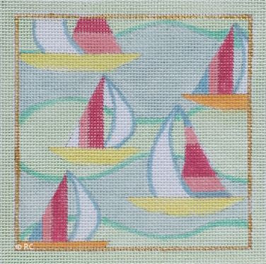 Lilly Inspired Sail Boat Square