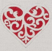 Red & White Scroll Heart