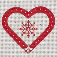 Red & White Snowflake Heart