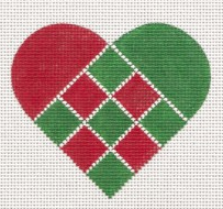 Red & Green Nordic Criss-Cross Heart