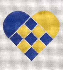 Blue & Yellow Nordic Criss-Cross Heart