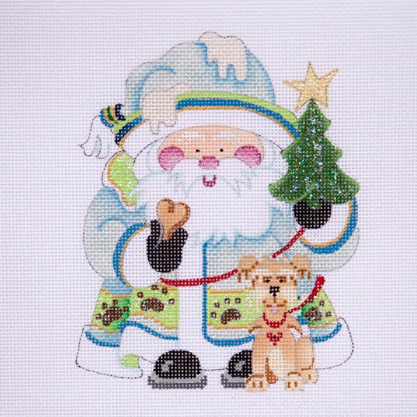 Squatty Santa w/ tree & dog on leash - icy blue coat w/ paw prints