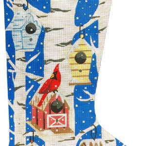 Cardinals and Birdhouses Stocking