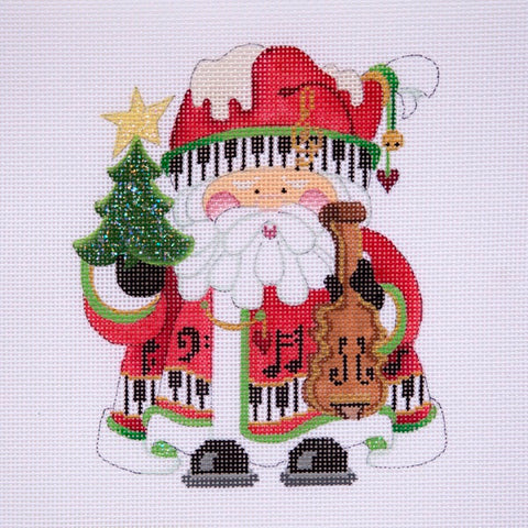 Squatty Santa w/ tree & violin - red coat w/ keyboard border