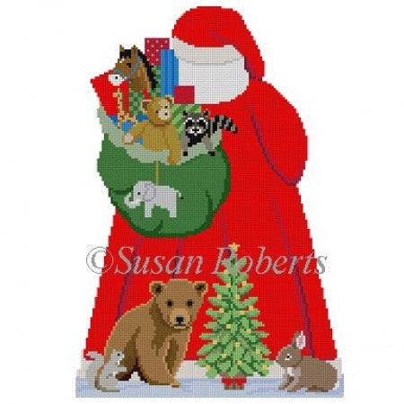 Tree Topper, Santa w Baby Forest Animals (back)