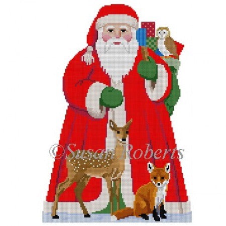 Tree Topper, Santa W/ Baby Forest Animals (front)