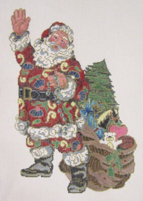 cloisonne Santa and toy bag