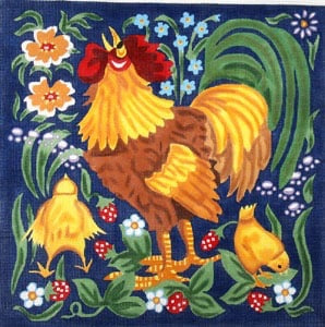 Red Rooster with Chicks - Wildflowers and Leaves C-265a