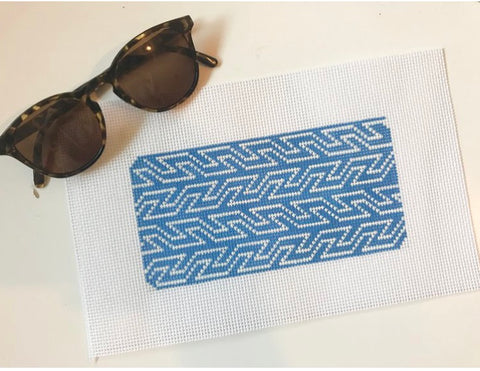 Blue & White Geometric Sunglasses Case