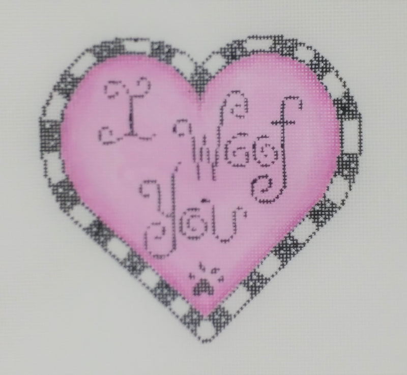 """I Woof You"" on pink heart"