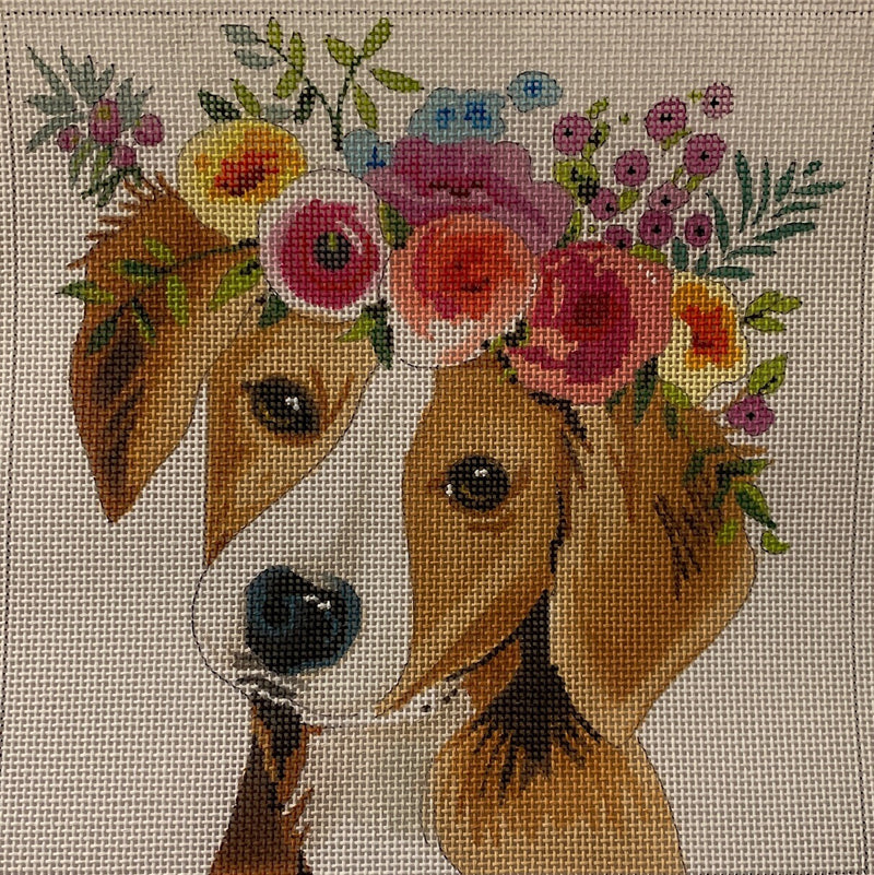 AN406 - dog with flowers