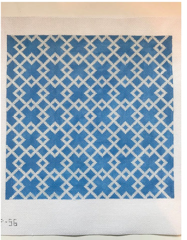 Blue & White Geometric Pillow 1