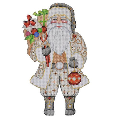 Large Santa - Silver & Gold Coat Holding Ornament BB 6006