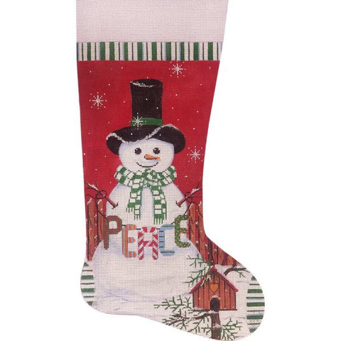 Peace Snowman Stocking