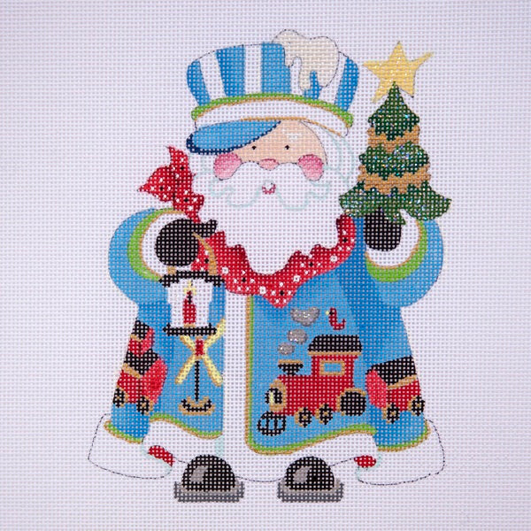 Squatty Santa w/ tree & lantern (w/ conductor hat) - blue coat w/ train