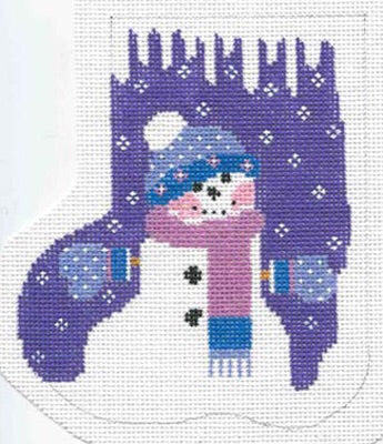 Purple Snowman Mini-Sock
