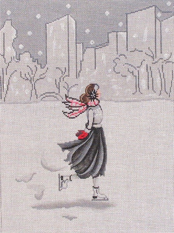 Ice skater in cityscape