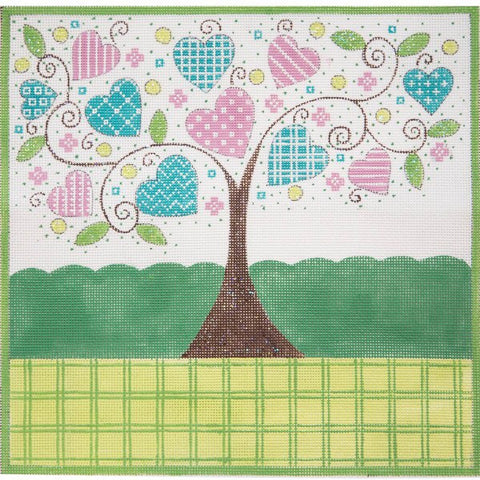Hearts in Tree Birth Announcement