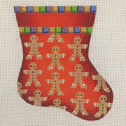Gingerbread Men on Red Mini Sock