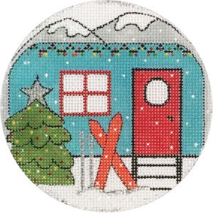 Travel Trailer with Skiis Ornament