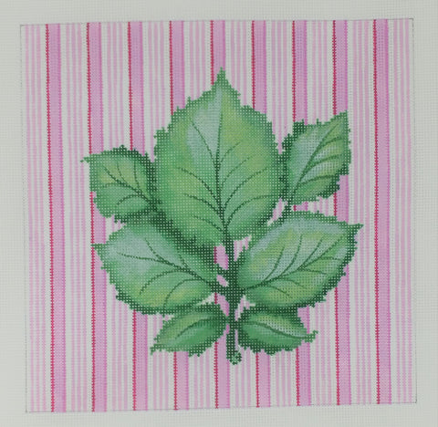 32011 PP Botanical, Leaf cluster on pink stripes