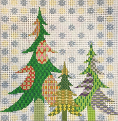 3 Trees with Snowflakes (Patt-310)