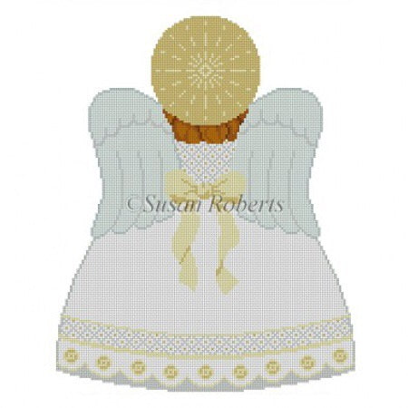 Tree Topper, Angel back, white, gold, silver