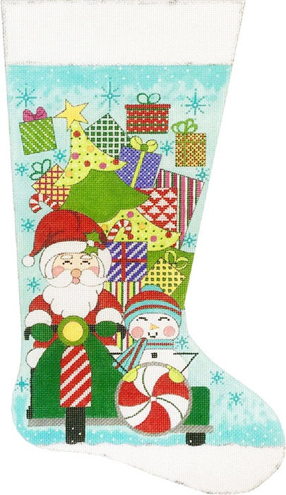 Santa on Scooter Stocking