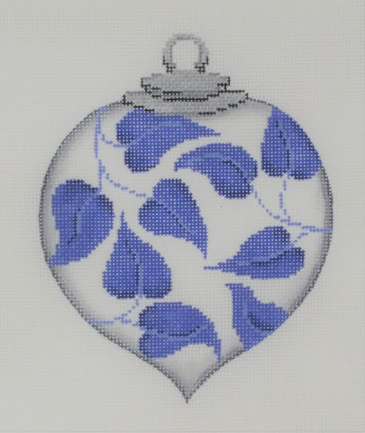 ornament, blue/wh leaves