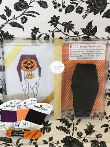 Pumpkin Head Ghost (Boxed set w/coffin & Stitch Guide) with some threads