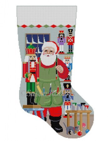 Santa Painting Nutcrackers, stocking