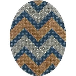Blue Gold Silver Chevron