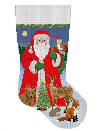 Santa W/ Baby Forest Animals, stocking