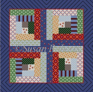 Patchwork Log Cabin, quilt
