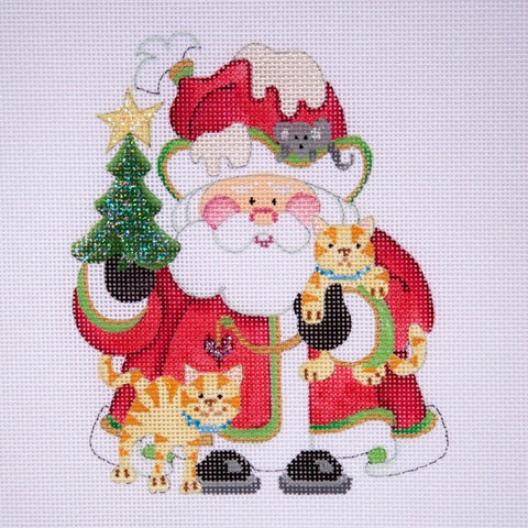 Squatty Santa w/ tree & cats - light red coat