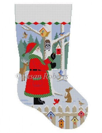 Santa With Bird Wreaths, stocking