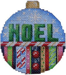 Noel/Stripes Ball Ornament Large