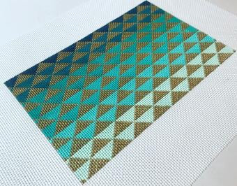 Ombré Triangles, Blue/Green Small Flat