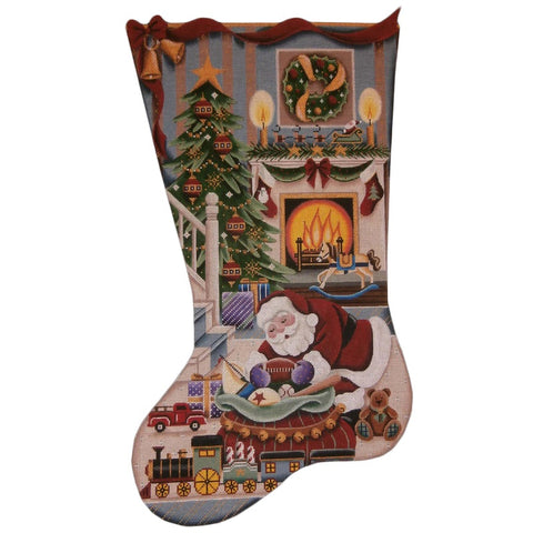 Christmas by the fire, boy Stocking 1394b