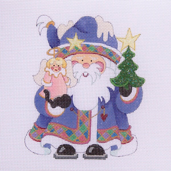 Squatty Santa w/ tree & angel - dark lavender coat w/ jewel band
