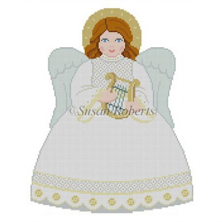 Tree Topper, Angel front, white, gold, silver
