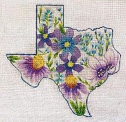 Texas State with Flowers