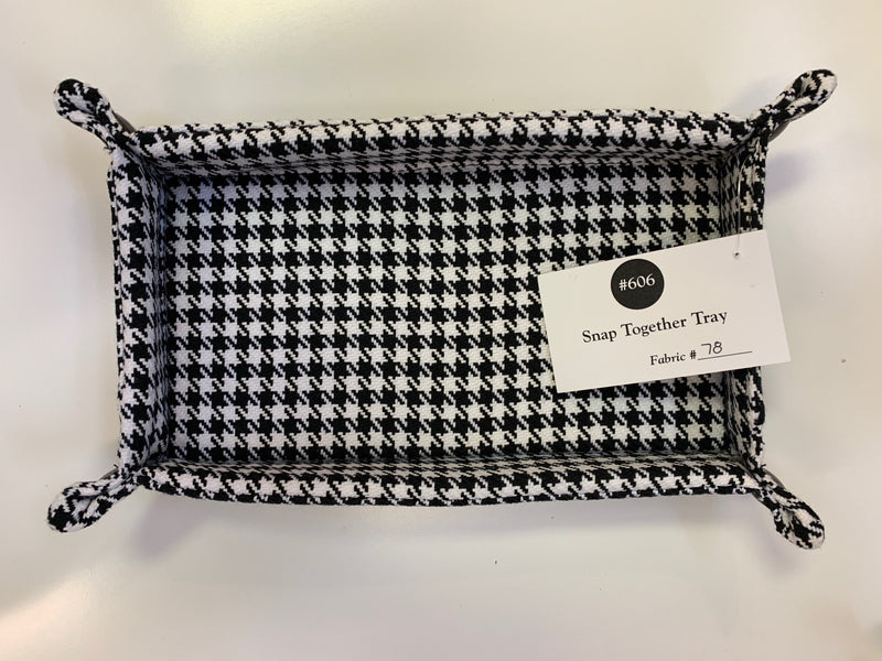 Snap Together Tray - Black & White Herringbone
