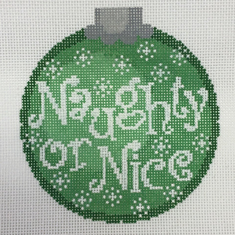 Naughty or Nice Ornament Green