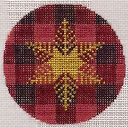 Gold Snowflake on Plaid