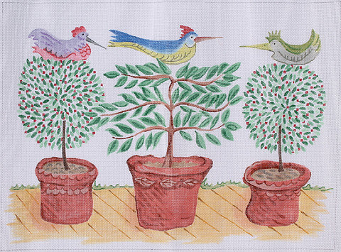 Jilly Walsh Three Birds in Topiaries