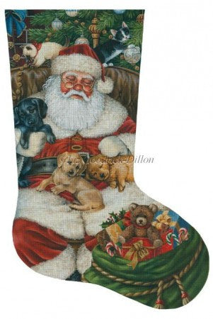 Sleeping Santa w/ Puppies and Kittens stocking