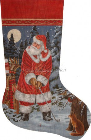 Long Coat Golfing Santa stocking