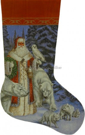 Arctic Coat Santa In Forest stocking