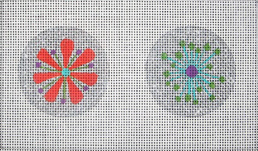 Mini Ornaments - Silver Flowers - BeStitched Needlepoint